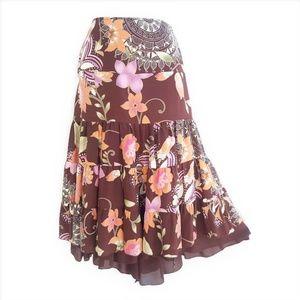 Bianca Nygard Skirt Lined Tiered Silk Boho 12